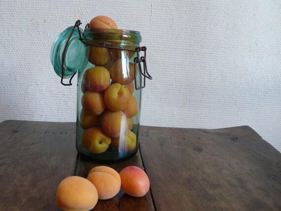 french vintage canning jar, Vintage Glass jar, mason jar, green, ancienesthetique on etsy finds french vintage