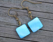 Small Ocean Blue Mother of Pearl Squares . Earrings . Antiqued Brass