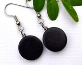 Black Wood Rounds . Earrings . Willow Collection