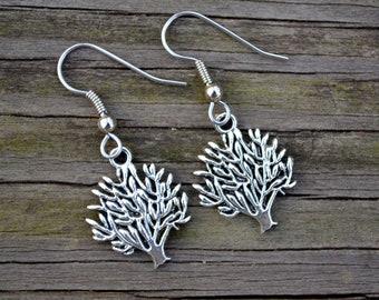 Antiqued Silver Trees . Earrings