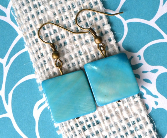 Ocean Blue Mother of Pearl Squares . Earrings . IMPERFECT CLEARANCE SALE