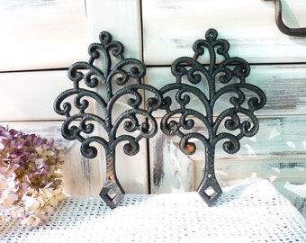 Set of Two Lovely Vintage Tree Cast Iron Trivet - Black Patina - Home Decor - Christmas Tree