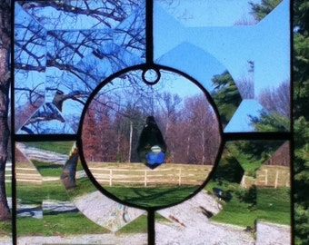 Stained Glass with Framed Swarovski Crystal Sun Catcher - Clear