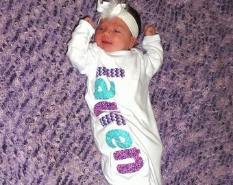 Hand Appliqued Personalized Infant Baby Girl Gown