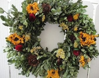 Boxwood Wreath    Dried Boxwood Wreath  Indoor Wreath   Handcrafted Wreath   Dried Floral Wreath