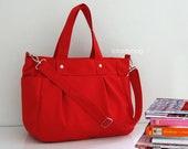 CHRISTMAS SALE - Red Canvas Bag / Tote / Diaper bag / Messenger / Travel / Laptop / Zipper closure / 3 Compartments