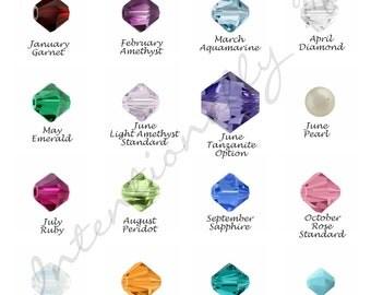 Add on Bicone Birthstones - Swarovski crystal Birthsones with Sterling Silver findings