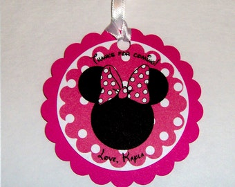 Minnie Mouse Favor Tag in Hot Pink