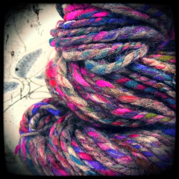Handspun art yarn - 'Festival' - double ply - one of a kind natural wool ARtYaRN