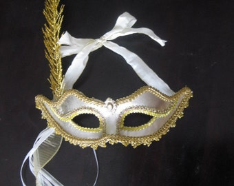 Gold Masquerade MASK, ribbon hold closure- Mardi Gras- Masquerade Style- Elegant- Birthday-