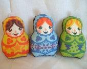 Printed Plush Matryoshka Russian Doll Christmas Decorations