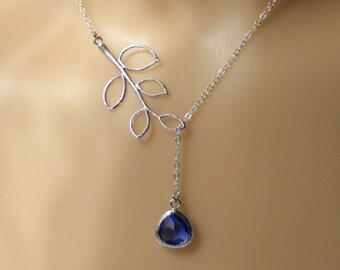 blue drop and branch necklace - Cobalt blue pendant necklace