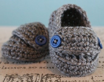 Boy Loafers Crochet Baby Booties - CUSTOM OPTIONS AVAILABLE