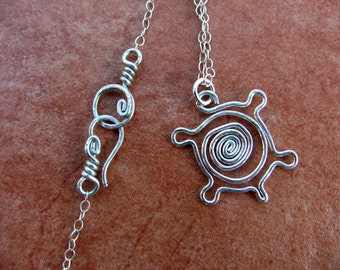 Turtle Spiral Tribal Charm Necklace Sterling Silver Swirl Cute Animal Zoo Ocean Fun Cable Chain Hook Clasp