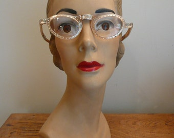 Vintage 1950s Glasses Rhinestone Frames 50s Folding Glasses