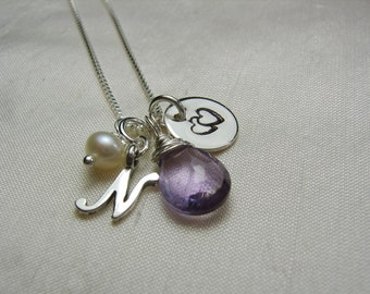 Initial Necklace Silver Monogram Necklace Birthstone Necklace Personalized Necklace Bridesmaid Gift for Mothers Necklace Bridesmaid Jewelry