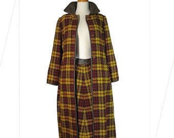 70s Bonnie Cashin Sills Plaid Winter Coat and Skirt with Leather Trim Turn-Lock Toggles