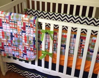 Chevron and Plaid Crib Bedding. Boy Baby Bedding. Nautical Nursery Decor. Pleated Crib Skirt. Crib Bumpers. Cotton Crib Sheet.Plaid Crib Set