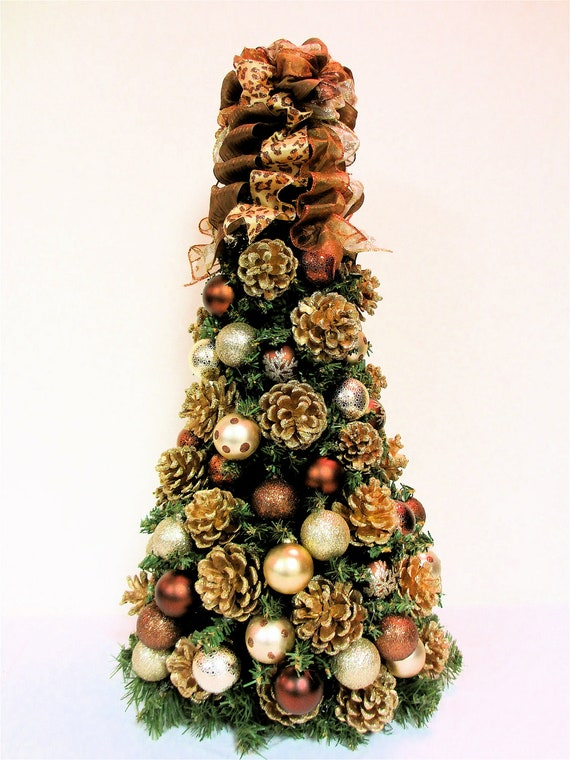 Items similar to christmas tree table top bronze brown Brown and gold christmas tree