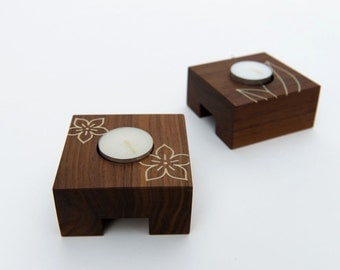 Modern Walnut Candle Holders with Inlay Detail - Set of 2