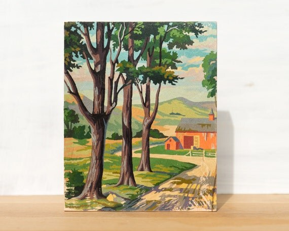"Paint by Number 'Red Barn' 8"" x 10"" Large Art Block - vintage farm, pastoral, country landscape"