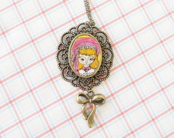 Necklace - Hand illustrated - Brass with ribbon charm