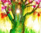 Bodhi Tree ACEO Print of original painting by SQ Streater