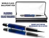 Handmade Blue Ballpoint Pen - Hand cast, shaped and assembled
