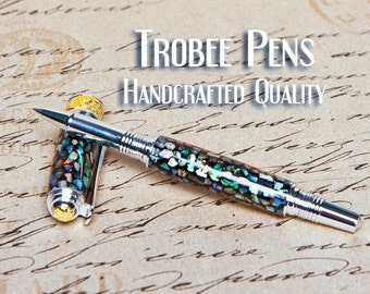 Abalone Pen Rollerball with Ceramic Tip  Writes smoothly flawless writing pen gift for a girl