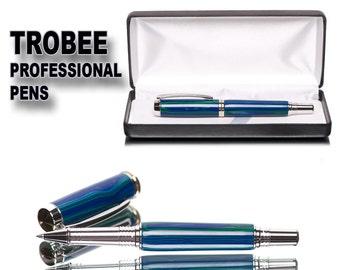 Rollerball Pen - Malachite Azurite Trustone - postable writing gift pen with ceramic tip - Rhodium and gold Great gift pen idea - black case