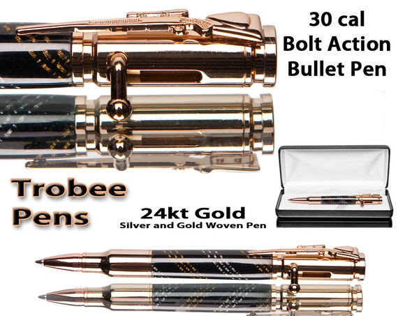 Bullet pen with silver, gold and black braiding, case included