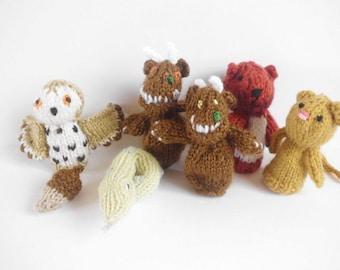PDF Knitting pattern Gruffalo Finger puppets  for charity