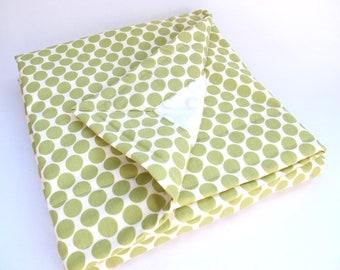 Baby Blanket - Green and Cream - Amy Butler - Lotus - Full Moon Polka Dot - Lime - Cream Minky Dot - 26 x 30