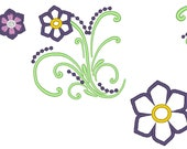 Curls flowers - machine embroidery design - instant download, multiple sizes for hoop 4x4, 5x7 and 6x10