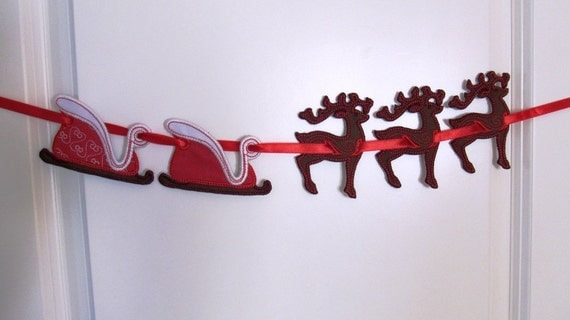 Christmas deer banners - In The Hoop Machine Embroidery Applique designs all done In-The-Hoop, download multiple sizes 4x4 and 5x7