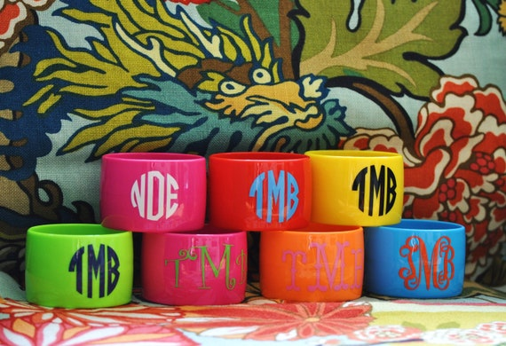 Monogrammed Acrylic Bangle Bracelets with Initials Monogram or Name  Perfect for Shower Gifts, Wedding Bridesmaid Gifts, Teacher Gifts