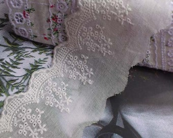 Off White Cotton Fabric Lace Trim Floral Embroideried Lace 2.3 Inches Wide 2 Yards