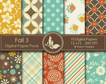 Fall 3 Paper Pack - 10 Digital scrapbooking papers - 12 x12 - 300 DPI