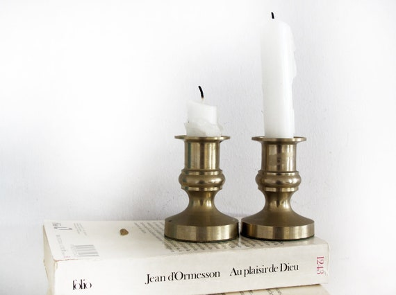 set of 2 French Vintage Golden Brass Candelabra Candle Holder, classic style