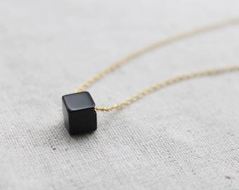 Simple Black onyx Cube Necklace  - S2299 -2