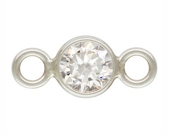Sterling Silver 4mm  CZ Bezel with 2 closed rings - 2pcs  High Quality 15% discounted (3905)/1