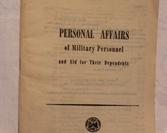 War Department Pamphlet, Personal Affairs, Military, World War