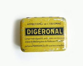 French Vintage Medicine Advertising Tin Box, Yellow Tin Box