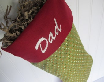 Embroidered Christmas Stocking - olive grene with  olka dots and burgandy cuff