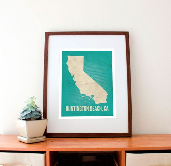 Huntington Beach, California Love Print