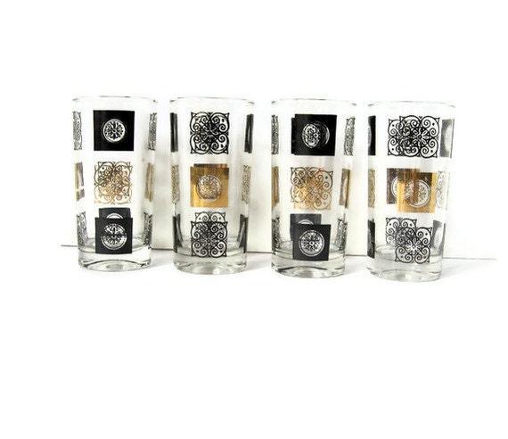 Set of 4 Vintage Black and Gold Bar Glasses