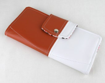 Vinyl Passport Wallet, Orange Passport Wallet, White Passport Case, Vegan Wallet