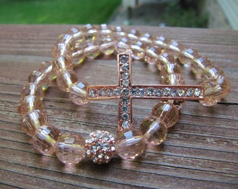 Rose Gold Peach Pave Crystal Sideways Cross Bracelets - Set of 2