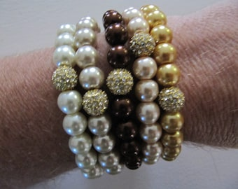 Gold Pave Stacked  Bead Stretch Bracelet - Multi Colors of Pearls