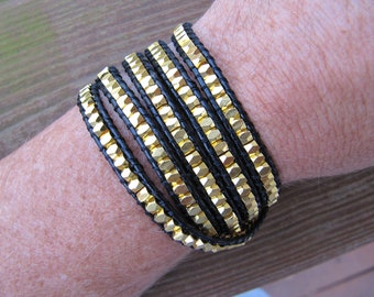 Gold Nugget 5 X Beaded Leather Wrap Bracelet - ON SALE